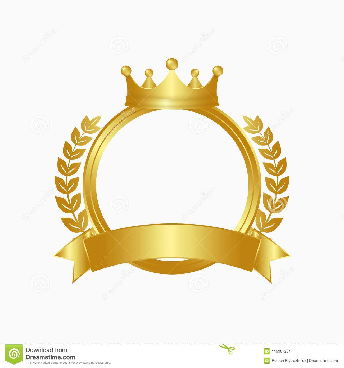 Gold crown, laurel wreath and circle frame. Winner sign with golden ribbon. Vector.
