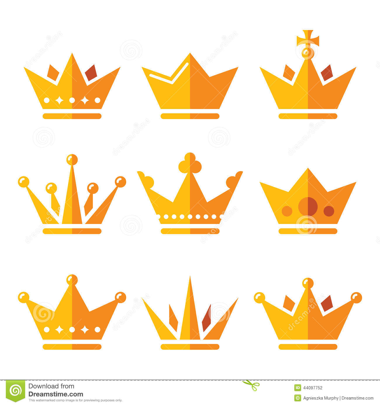 Stock Illustration Gold Crown Royal Family Icons Set King Queen Vector Isolated White Image44097752 on King And Queen Clip Art
