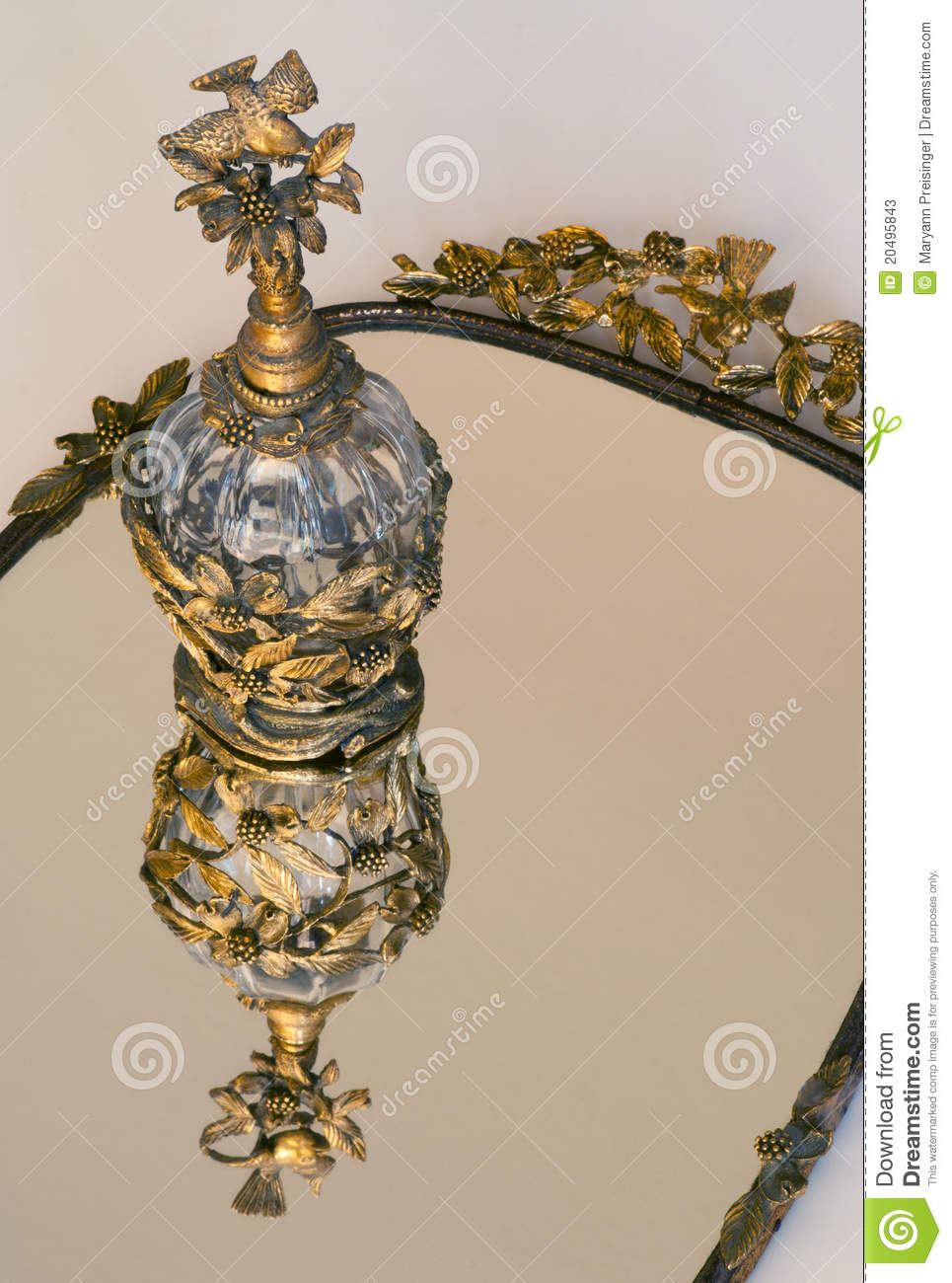 Gold Crystal Perfume On Vanity Mirror Stock Image Image Of Scent Tray 20495843
