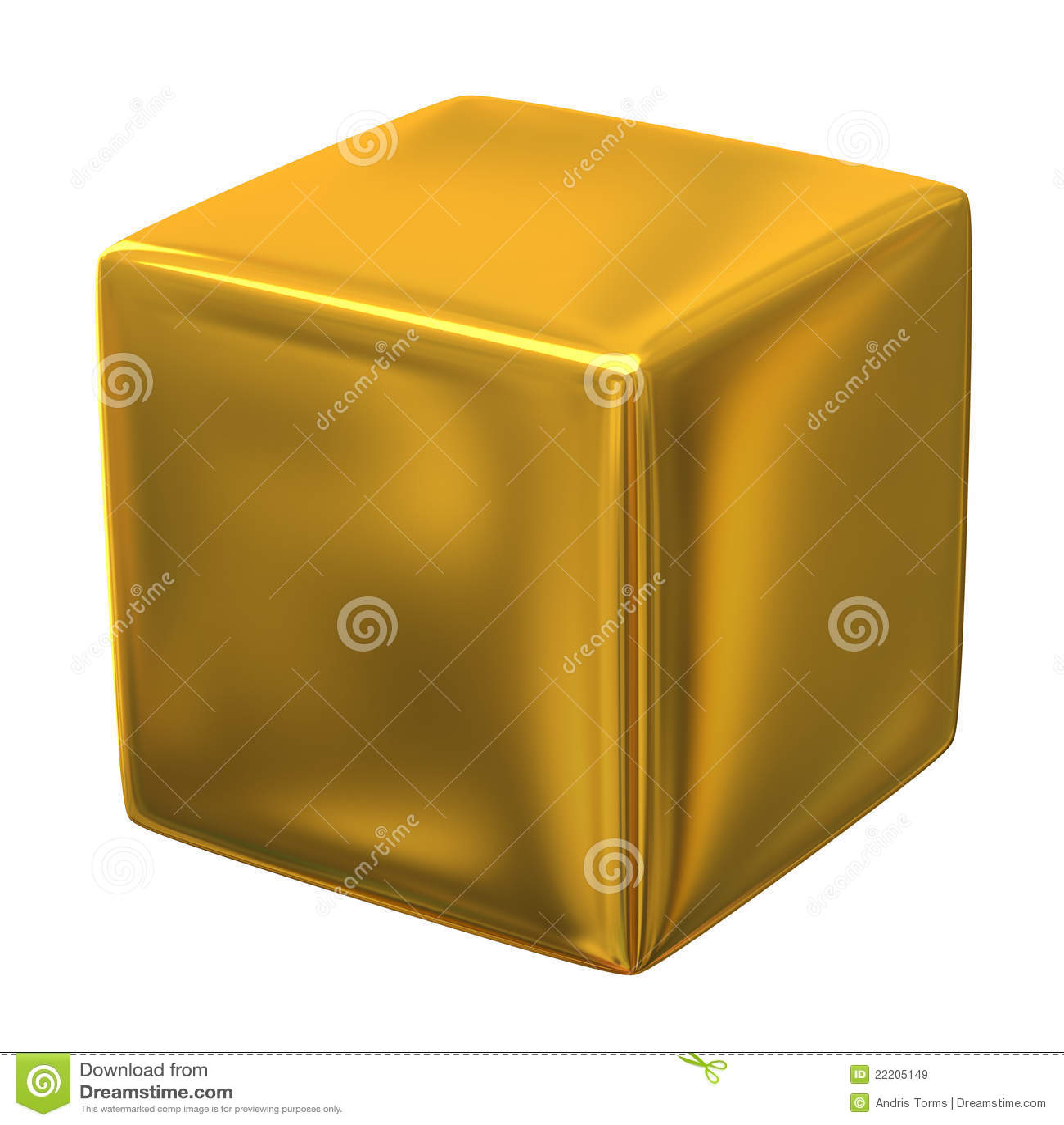 Gold Cube 3d Stock Illustration Illustration Of Label