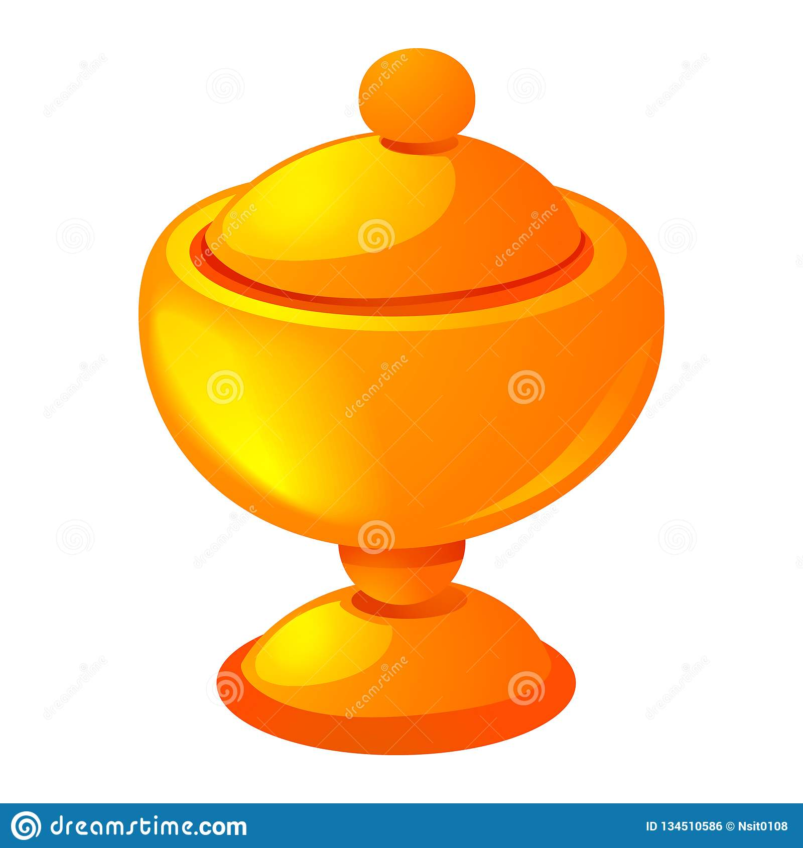 Gold cup icon, cartoon style