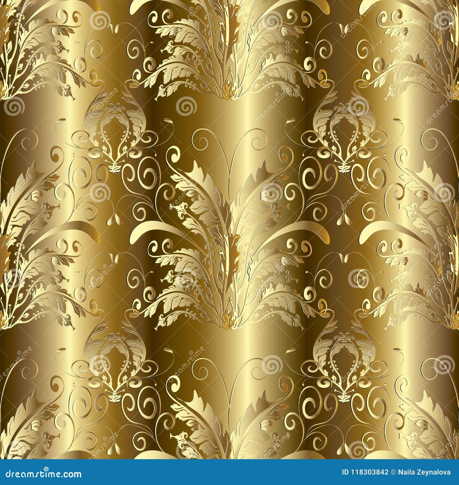 Gold 3d Baroque Damask Seamless Pattern Vector Floral Backgroun