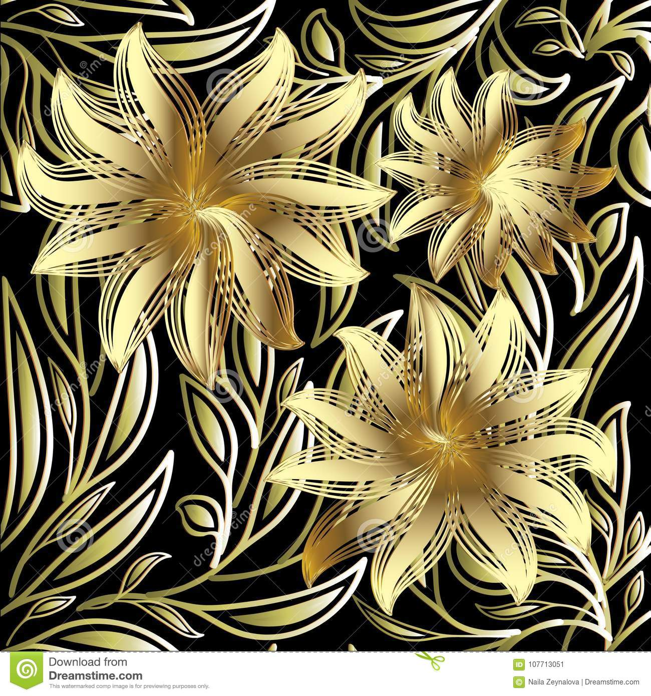 a9b4b5b57ff2 Gold 3d Flowers Seamless Pattern. Vector Black Floral Background ...