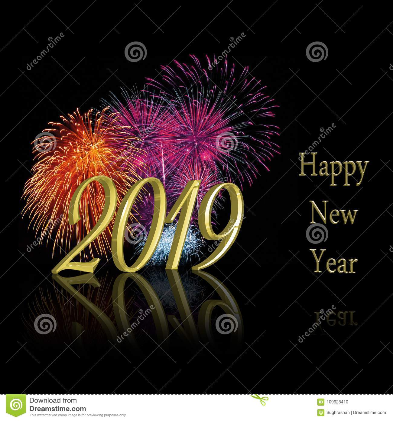 Happy new year 2019 3d