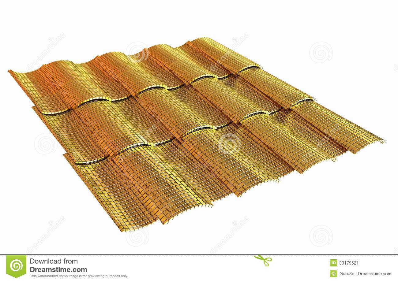 Gold 3d Roof Tiles Isolated On White Background Stock