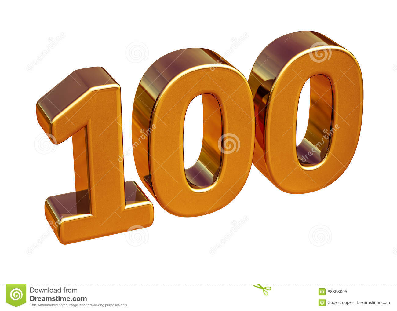 Gold 3d 100th Anniversary Sign Top 100 Stock Illustration