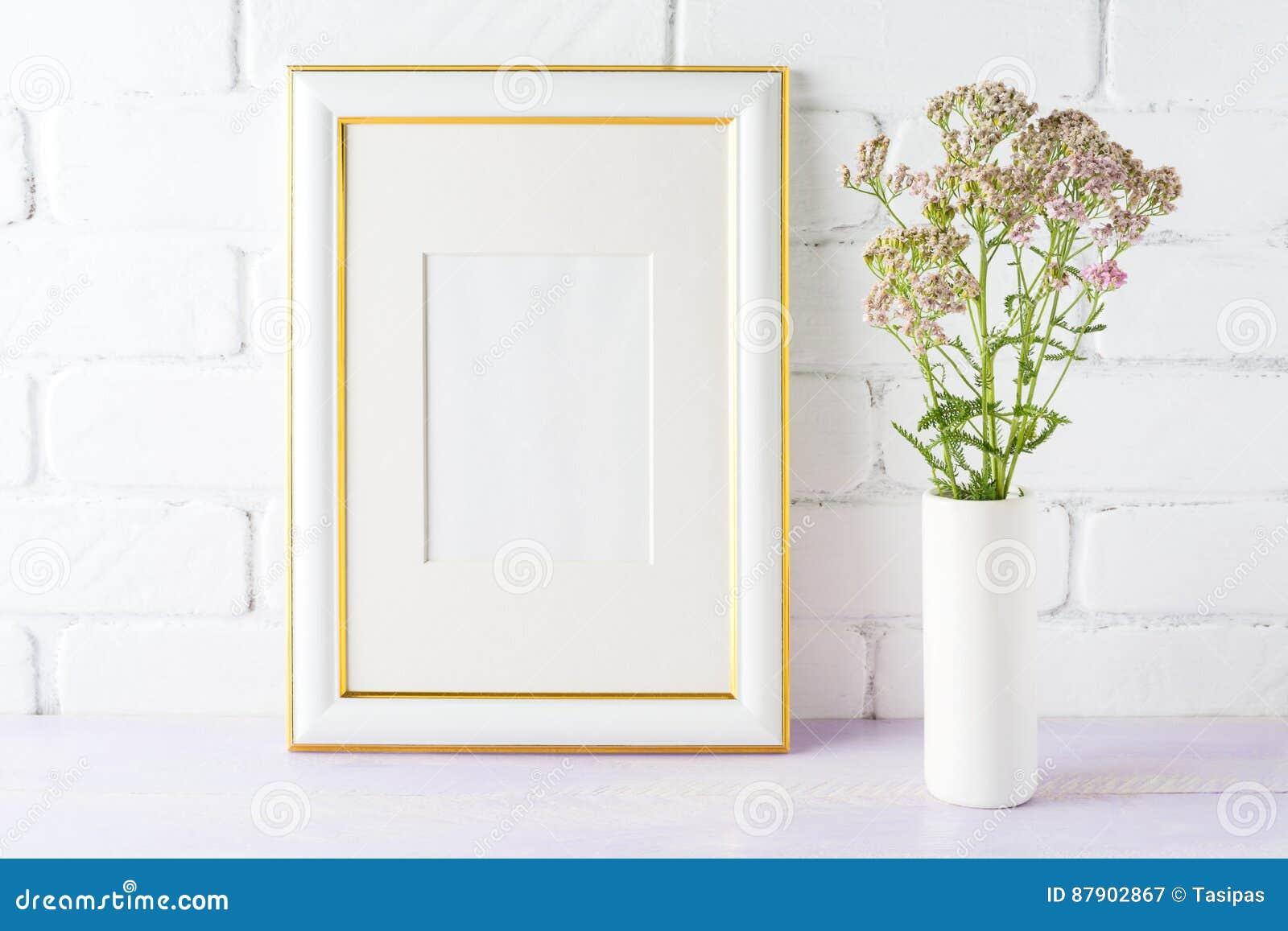 Gold Decorated Frame Mockup With Pink Flowers In Cylinder Vase Stock Image Image Of Arrangement Brick 87902867