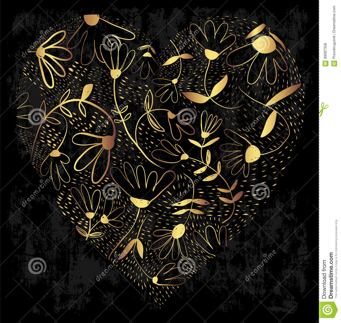 Gold decorative heart with flowers on a grungy background