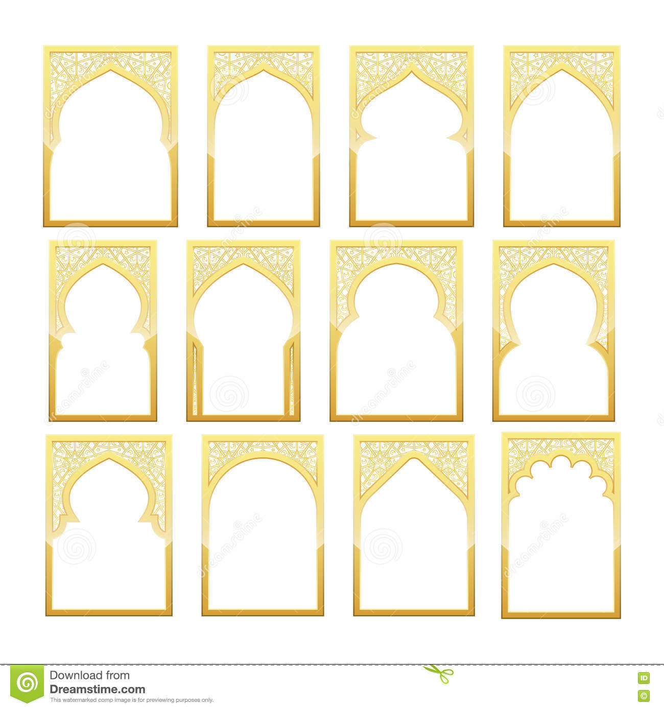 Gold design arab window ramadan kareem stock vector for Window design template