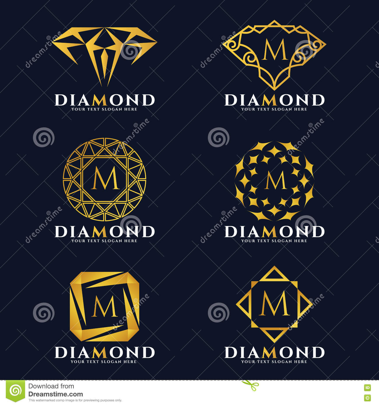 16b1144a86af Gold Diamond And Jewellery Logo Vector Set Design Stock Vector ...