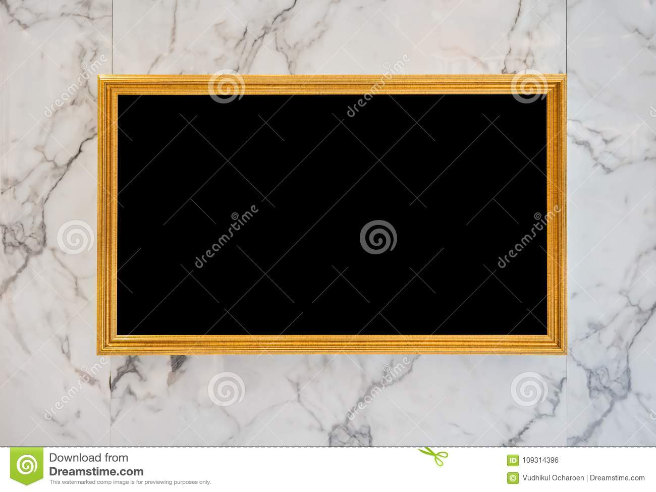 Gold Digital Movie And Picture Frame On Marble Wall Stock Photo ...