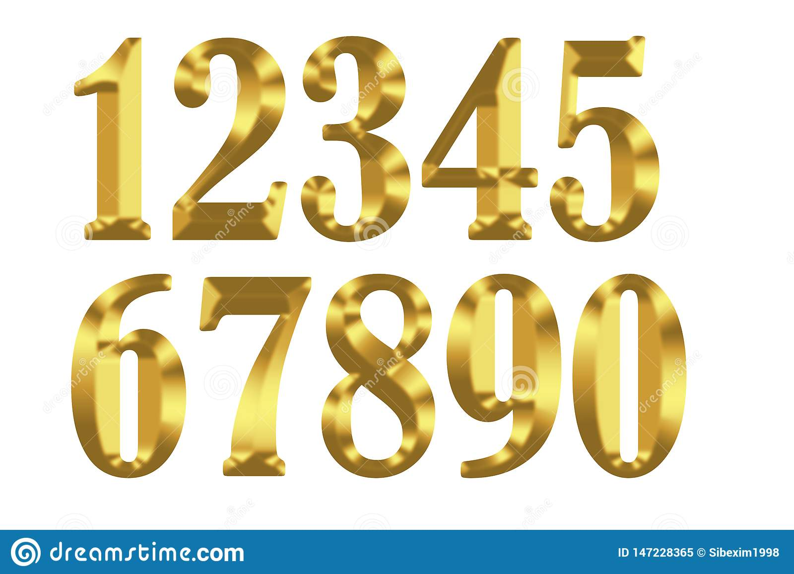 Gold digits on white background