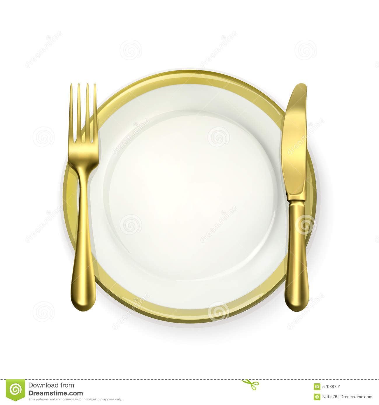 Dinner Setting gold dinner place setting stock vector - image: 57038791