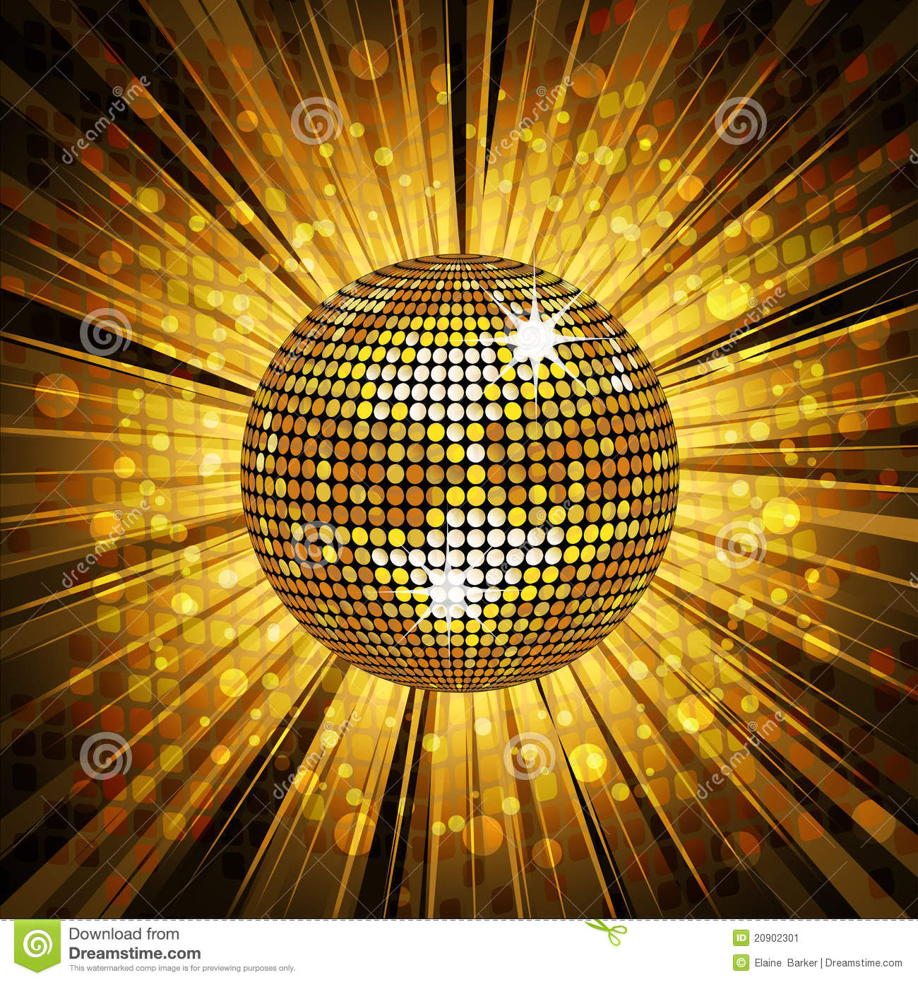 Gold Disco Ball And Mosaic Background Stock Vector - Image ...