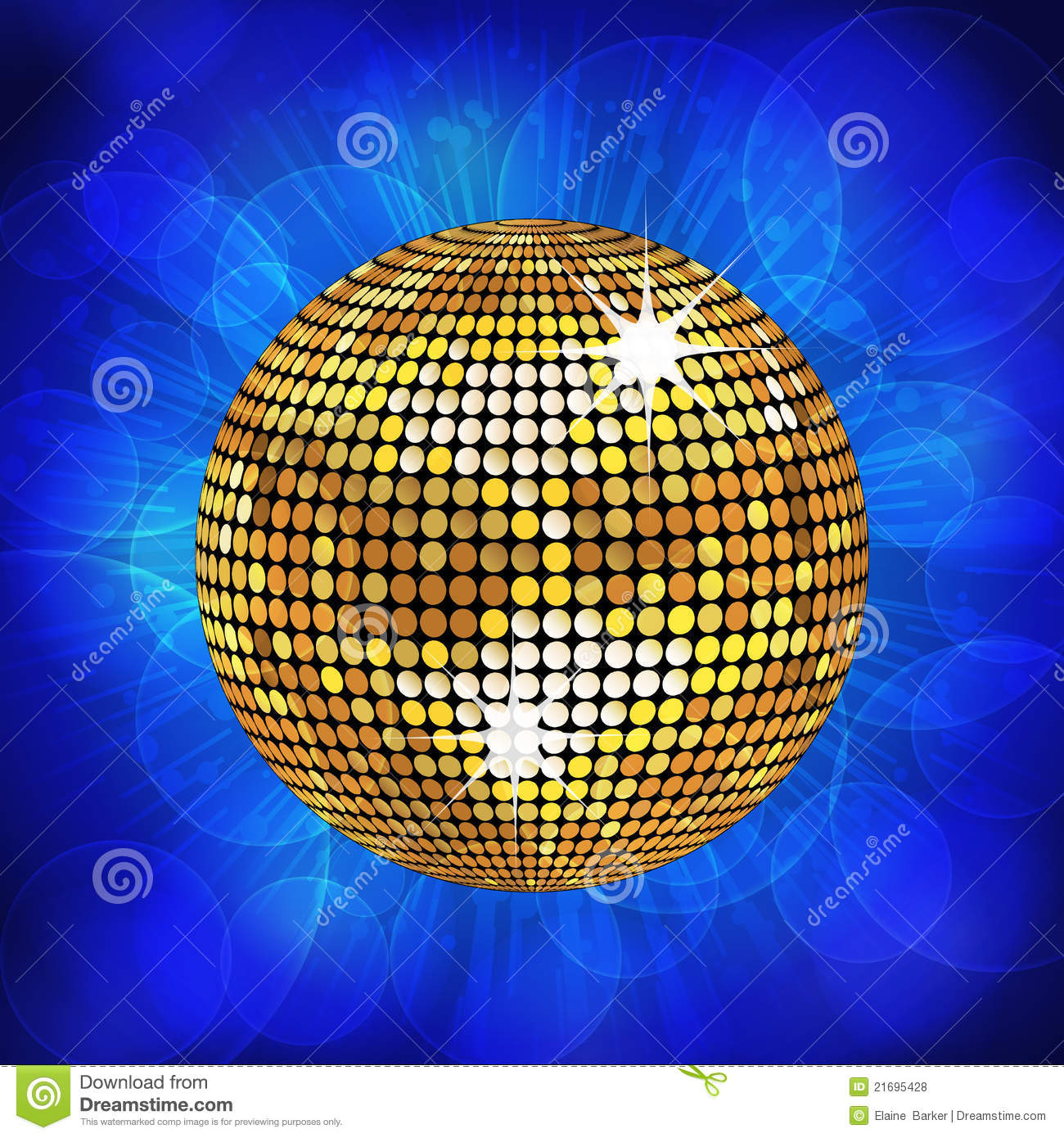 Gold Disco Ball And Sparkling Blue Background Stock Vector ...