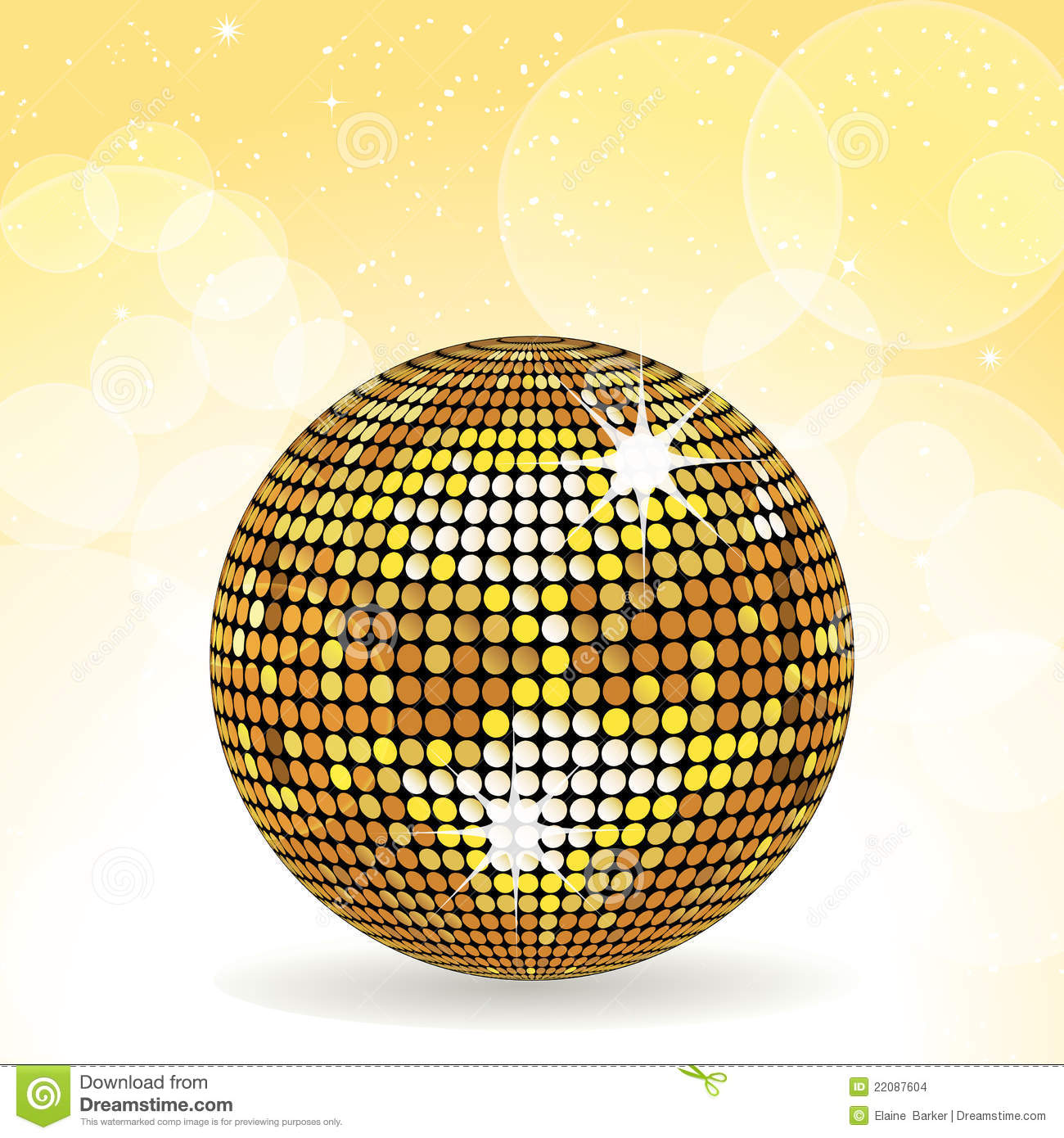 Gold Disco Ball And Yellow Background Stock Images - Image ...