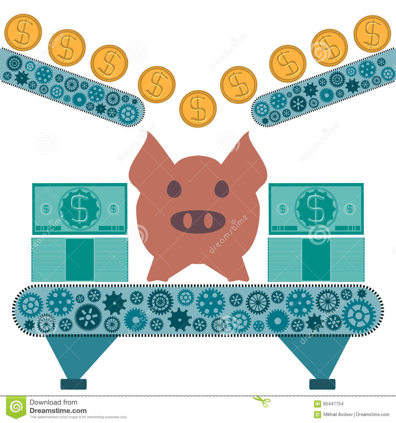 Gold dollar coins are rolling to a pig piggy Bank.