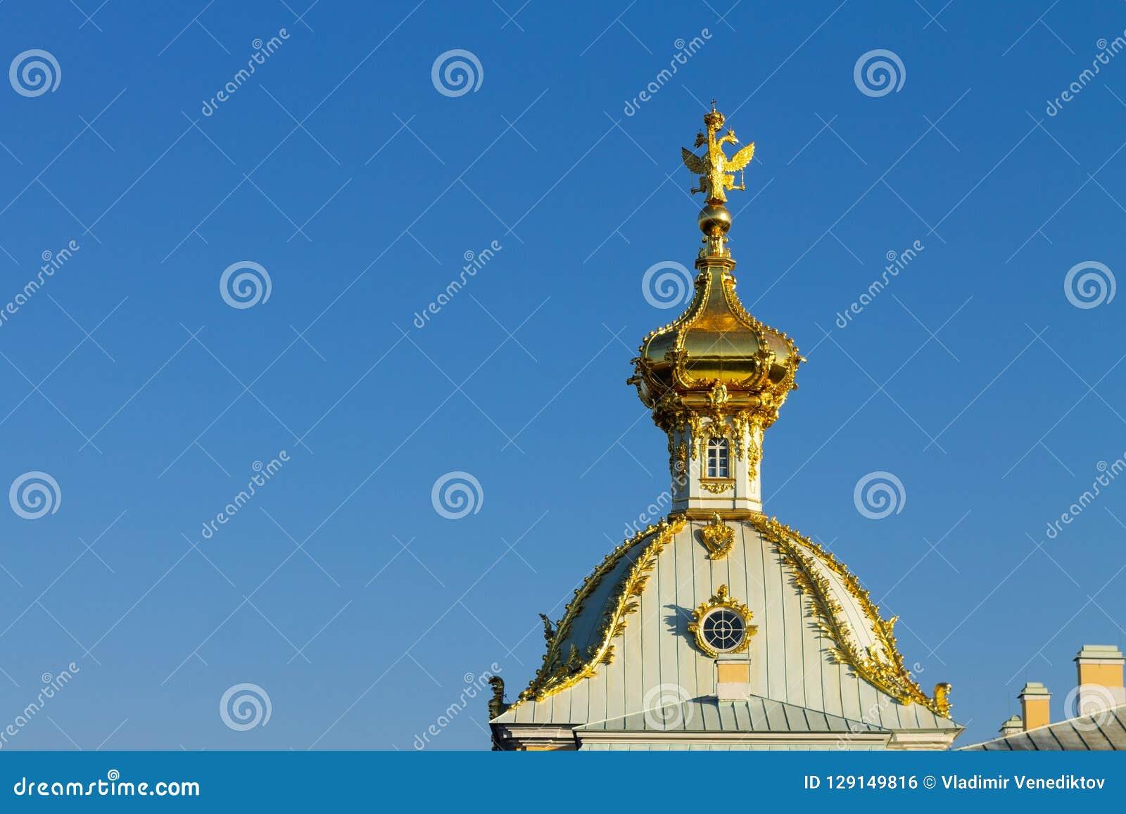 Gold domes cupolas againts blue sky