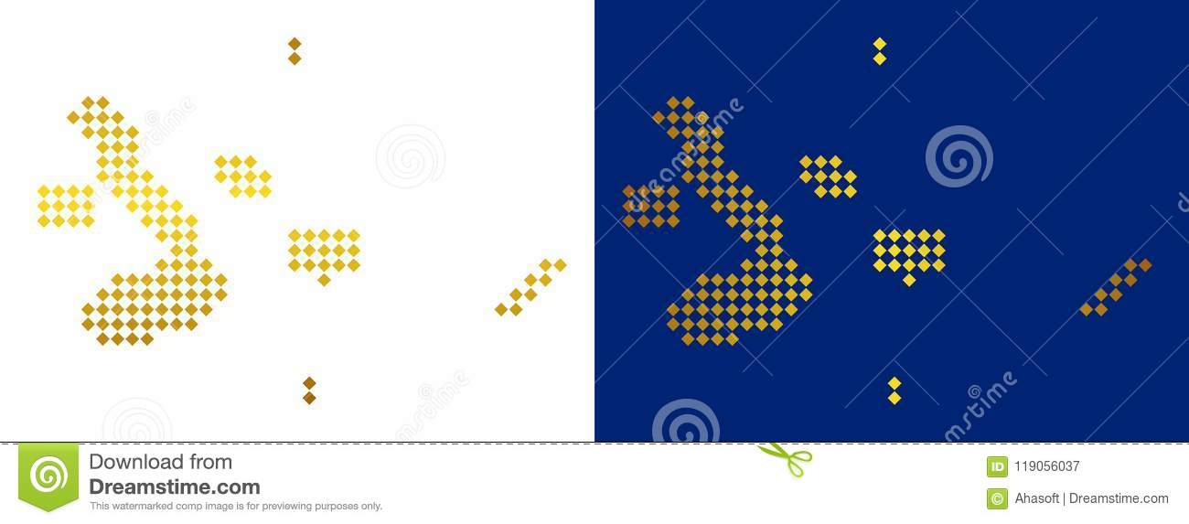 Gold Dotted Galapagos Islands Map Stock Vector