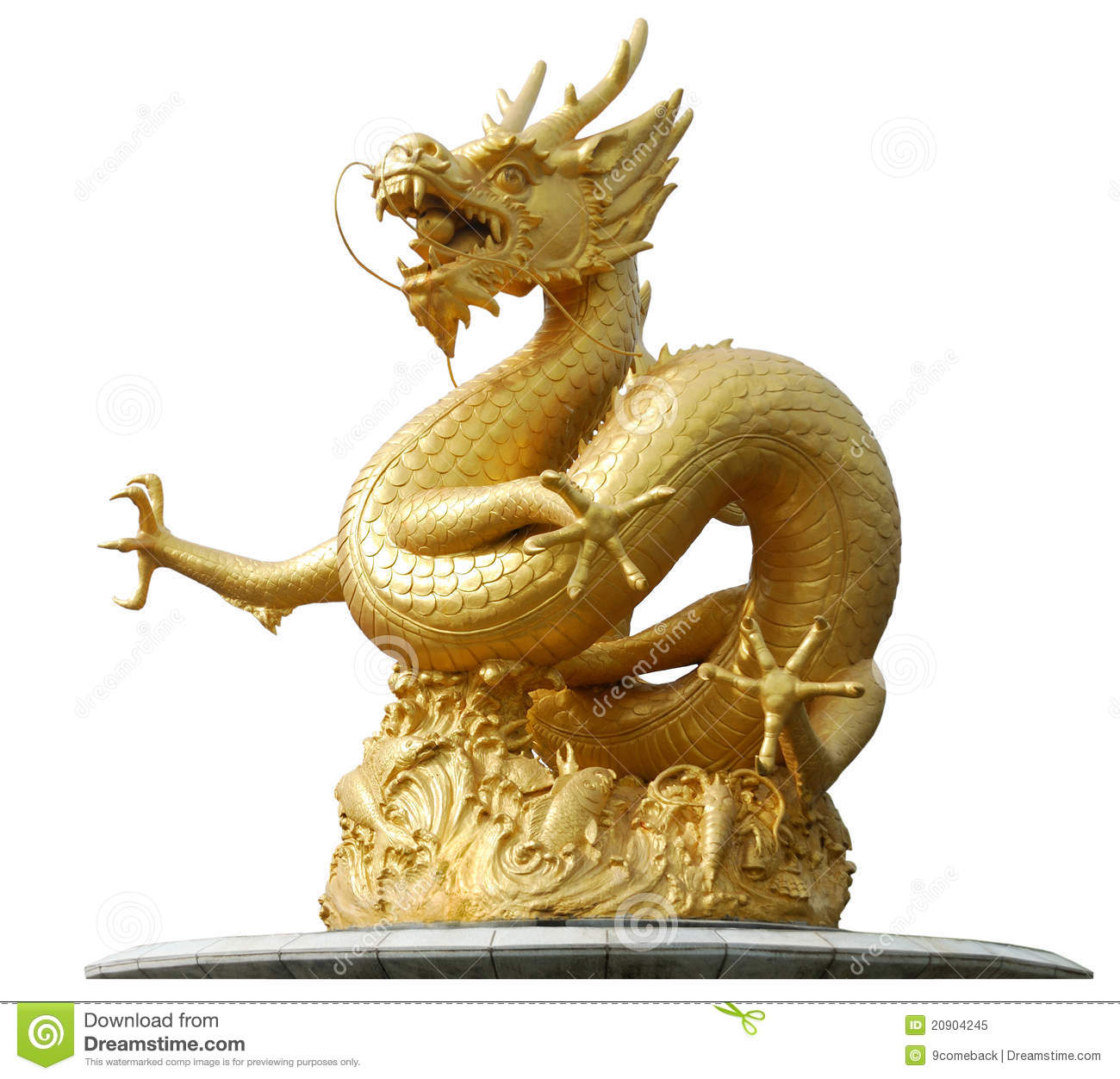 Gold Dragon Sculpture Royalty Free Stock Photo Image