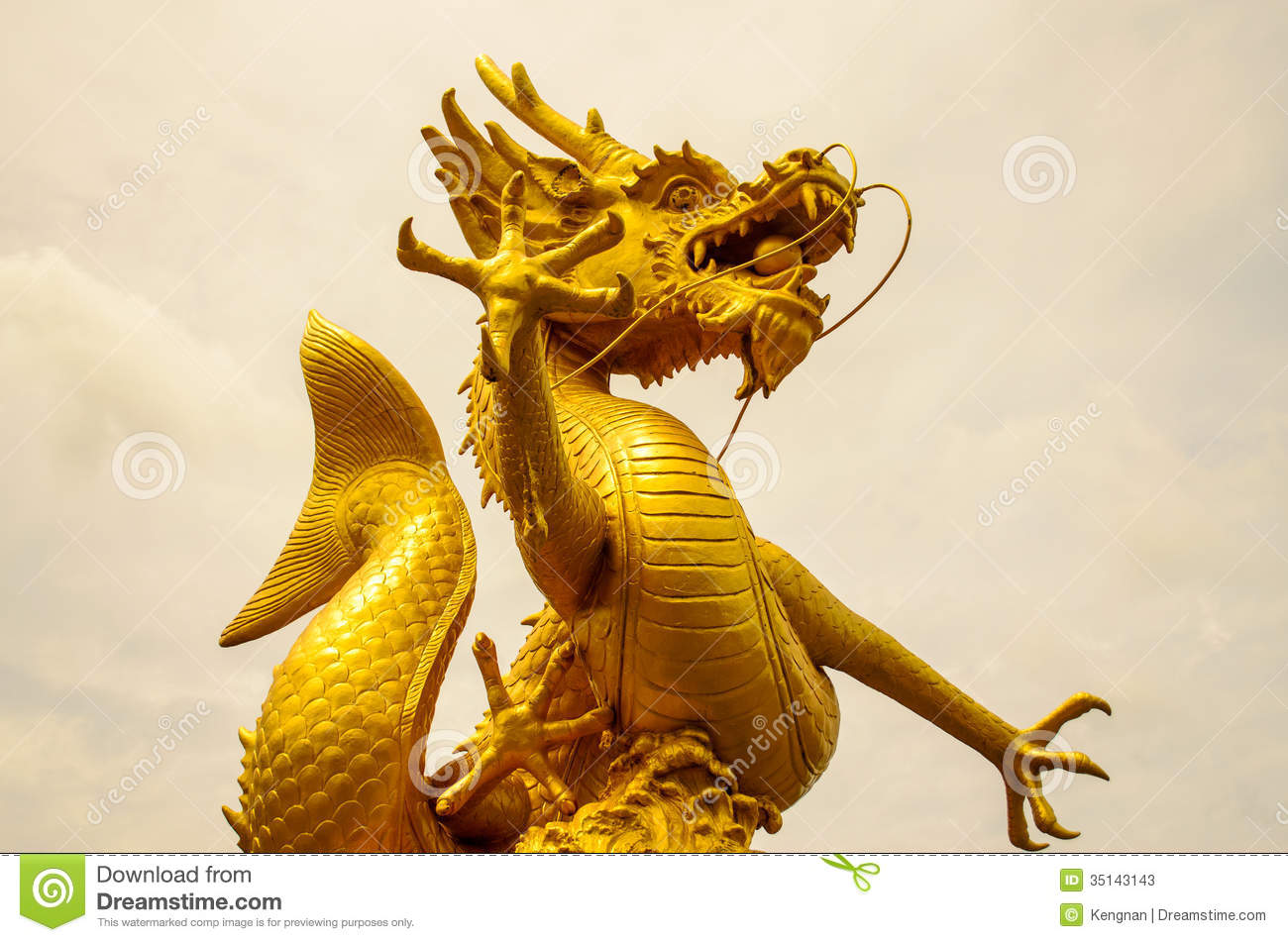 Gold Dragon Sculpture Figure Art China, Phuket Thailand.