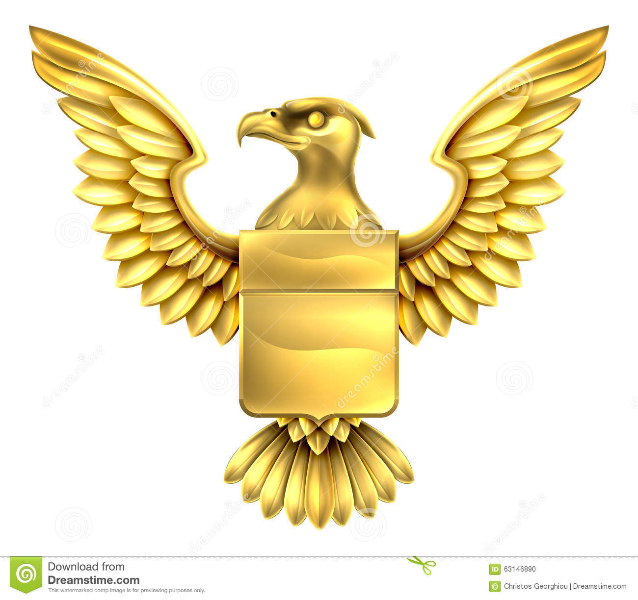 Gold Eagle Shield Stock Vector Image 63146890
