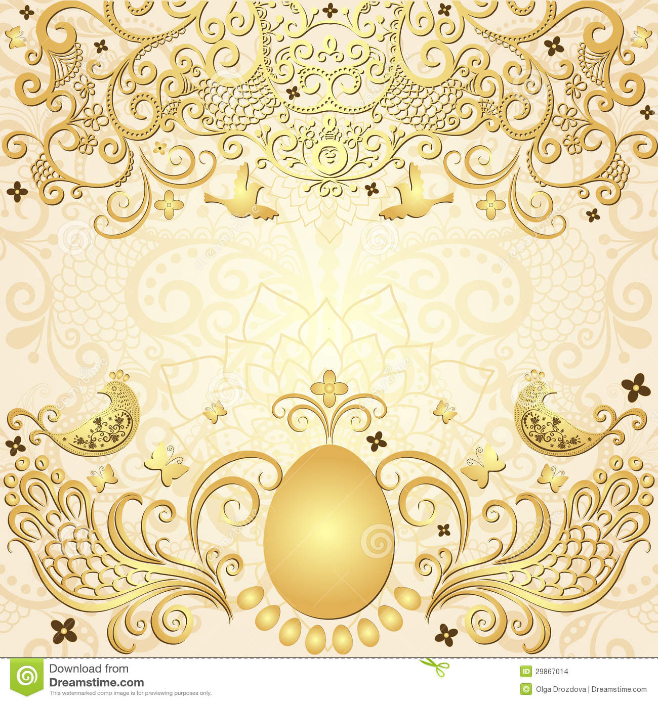 aa34780ef0d Gold easter vintage frame stock vector. Illustration of design ...