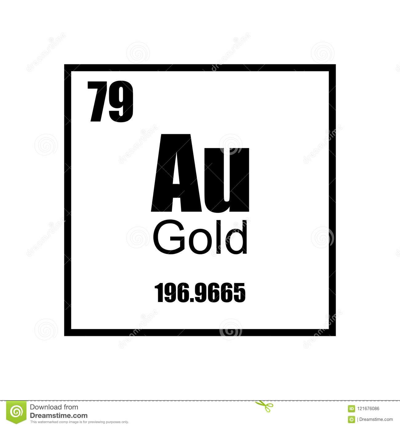 Gold Element Periodic Table Stock Vector Illustration Of Chemical