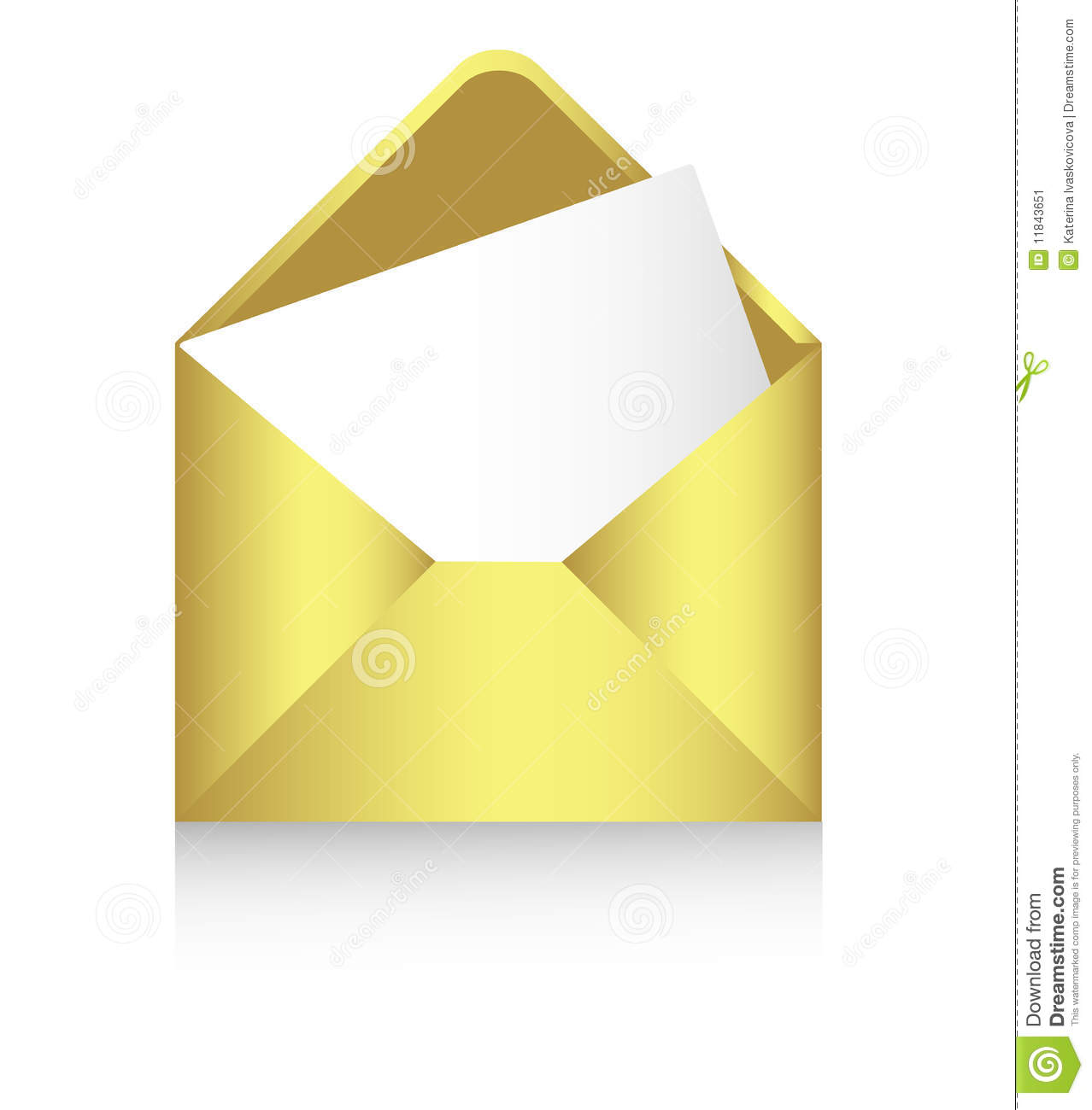 Gold Envelope With A Sheet Of Paper Vector Stock Image