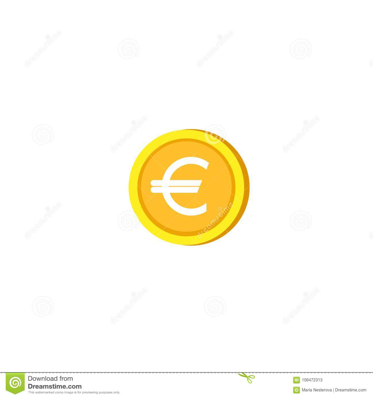 Gold Euro Cartoon Coin Flat Icon Isolated On White Stock