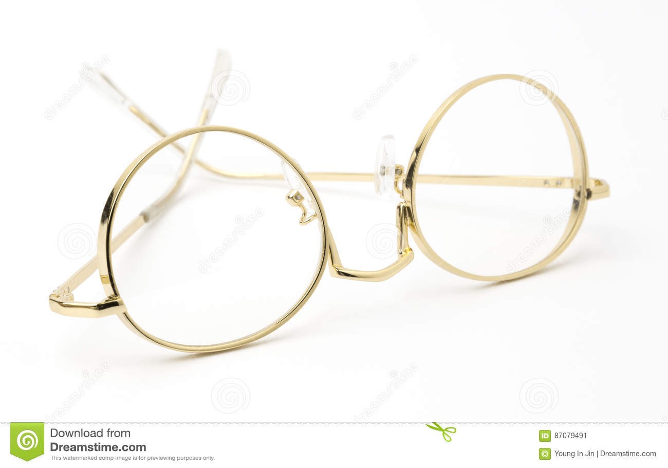 Gold Eye Glasses Folded Isolated on White