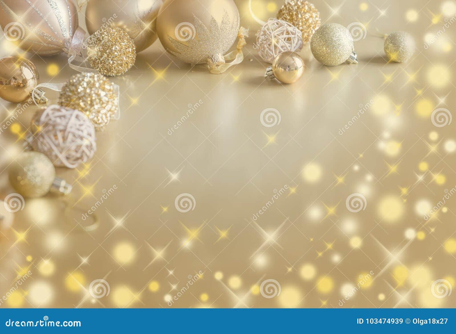 Gold Festive Christmas background. Christmas ball golden decoration.