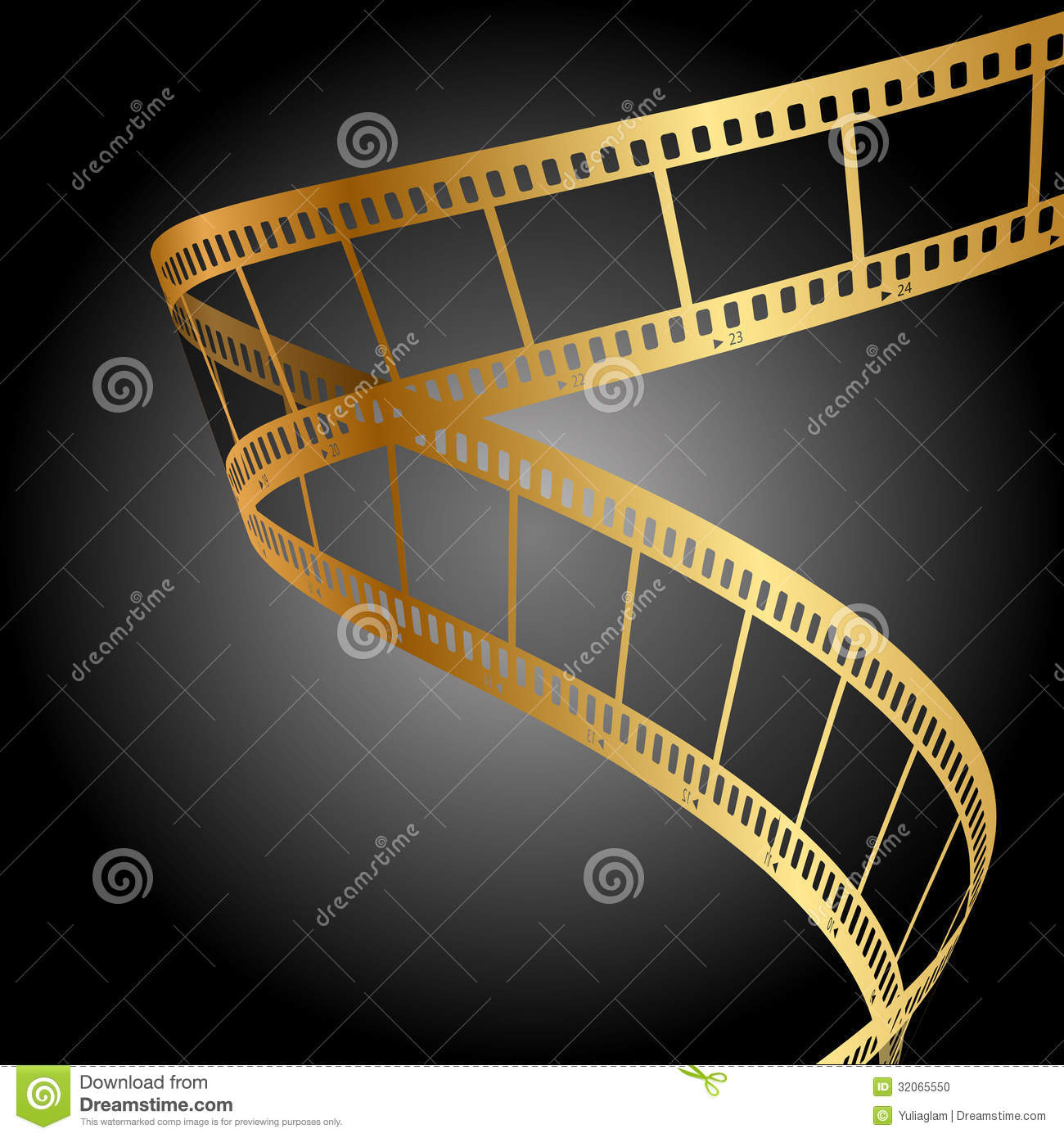 gold film strip stock photo