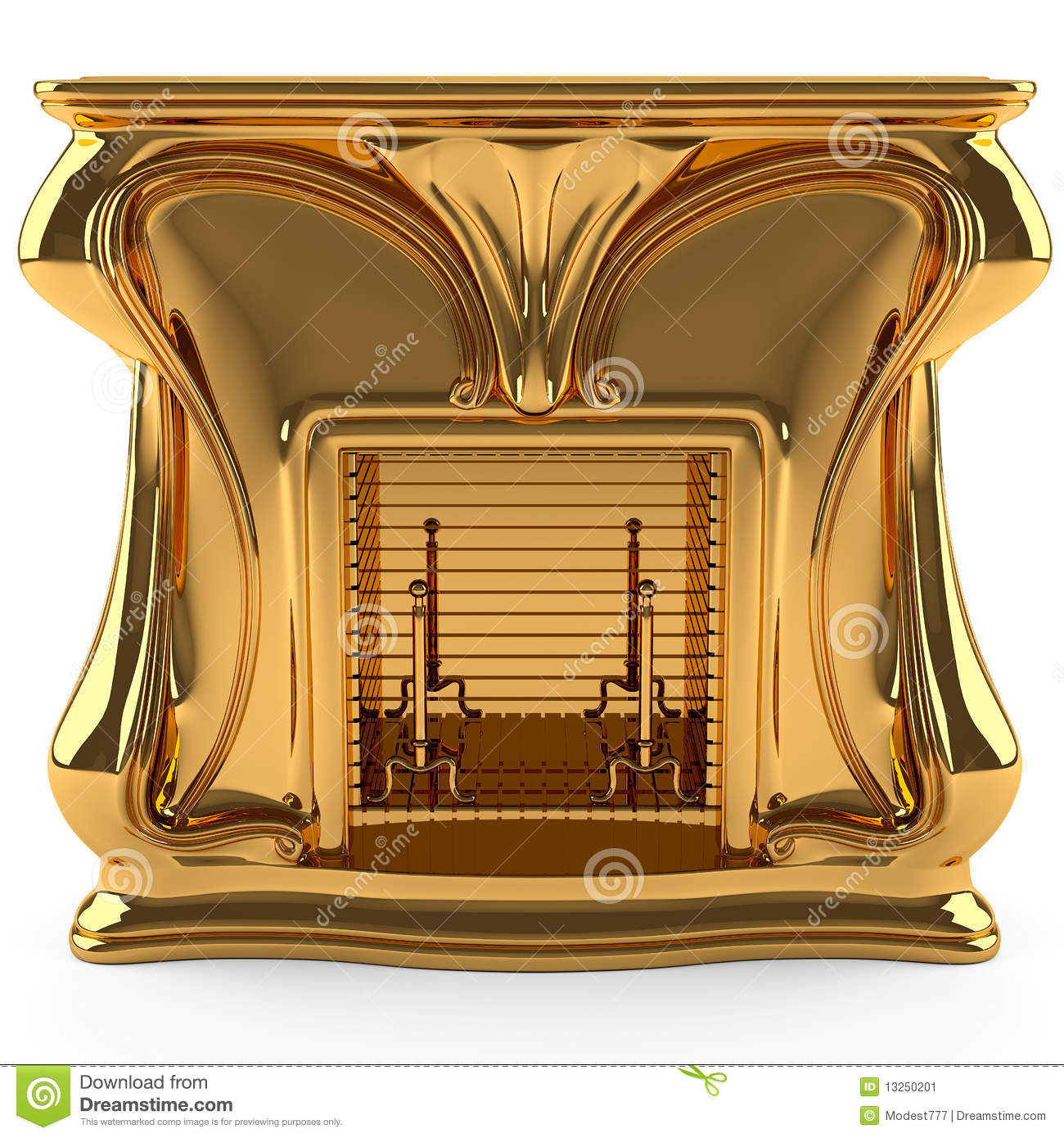 Gold Fireplace Stock Image - Image: 13250201