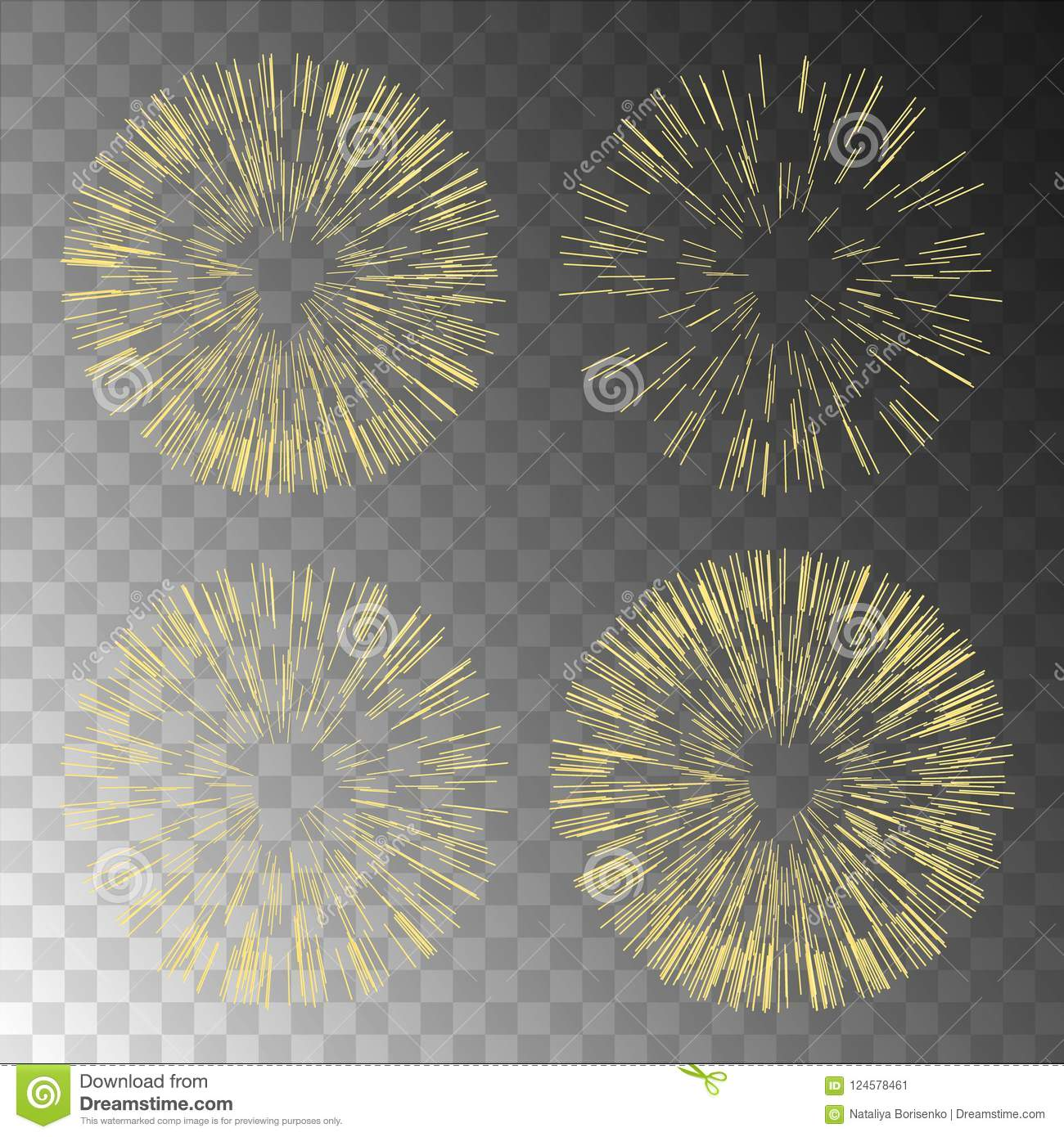 Gold fireworks on transparent background.Fireworks coll