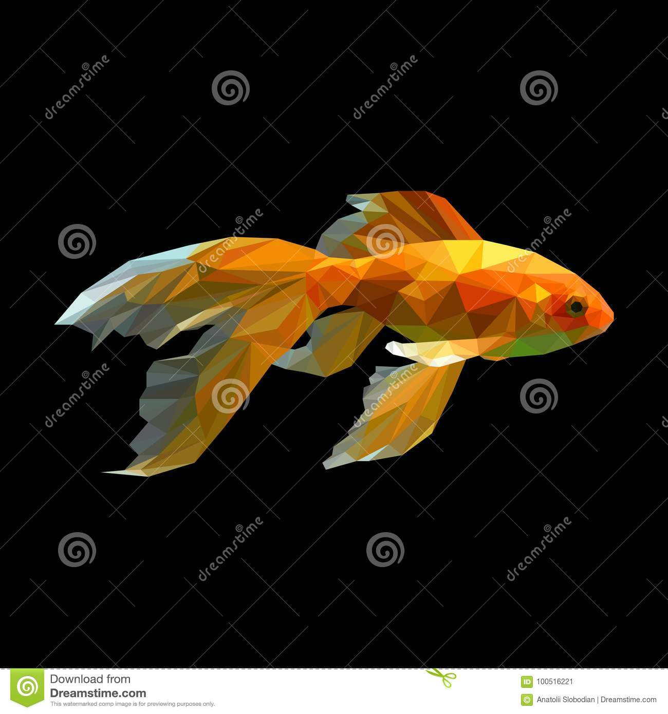 Golden Fish Low Polygon Vector Stock Vector Image 60319347