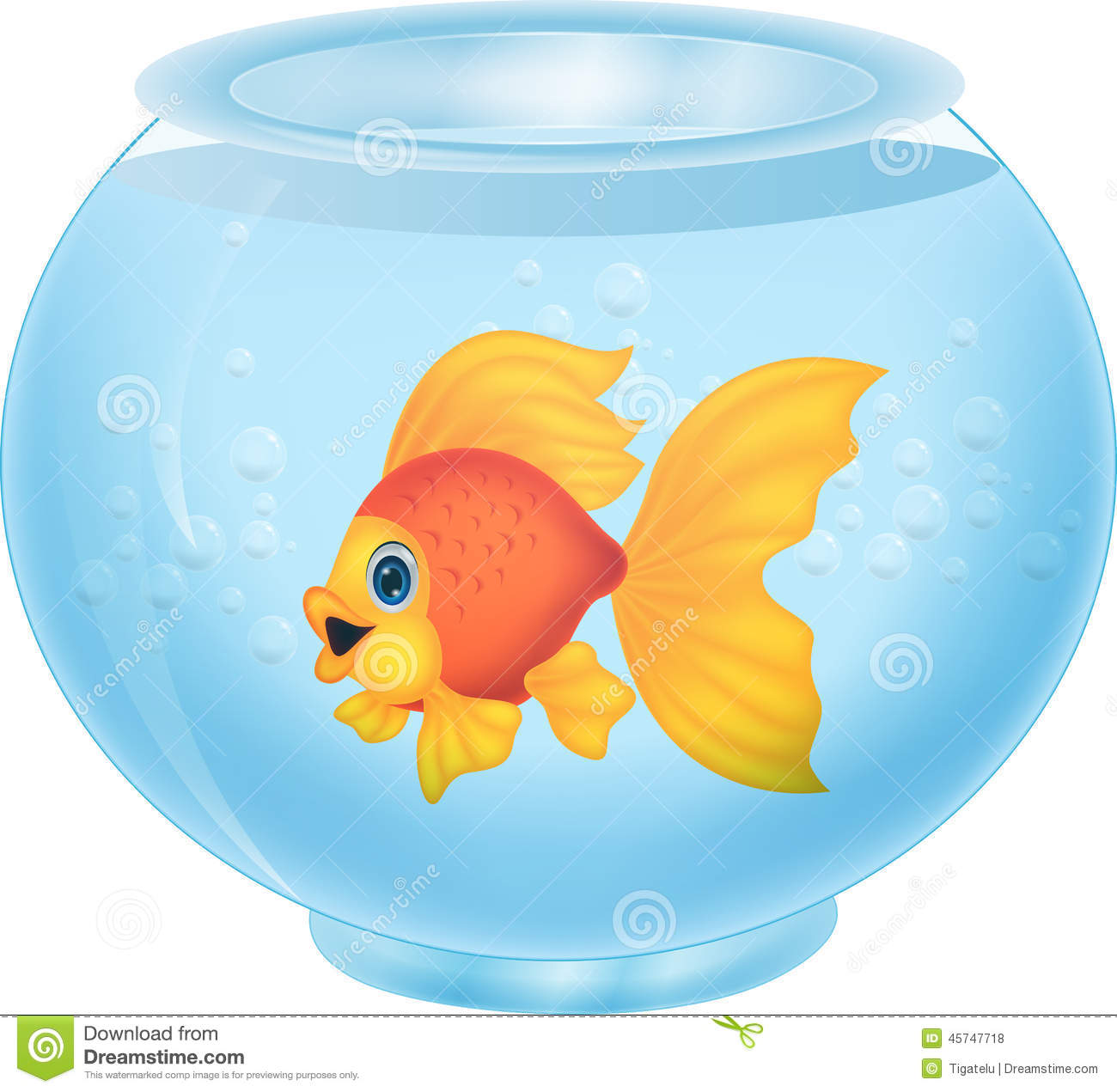 Gold Fish Cartoon In Aquarium Stock Vector Image 45747718