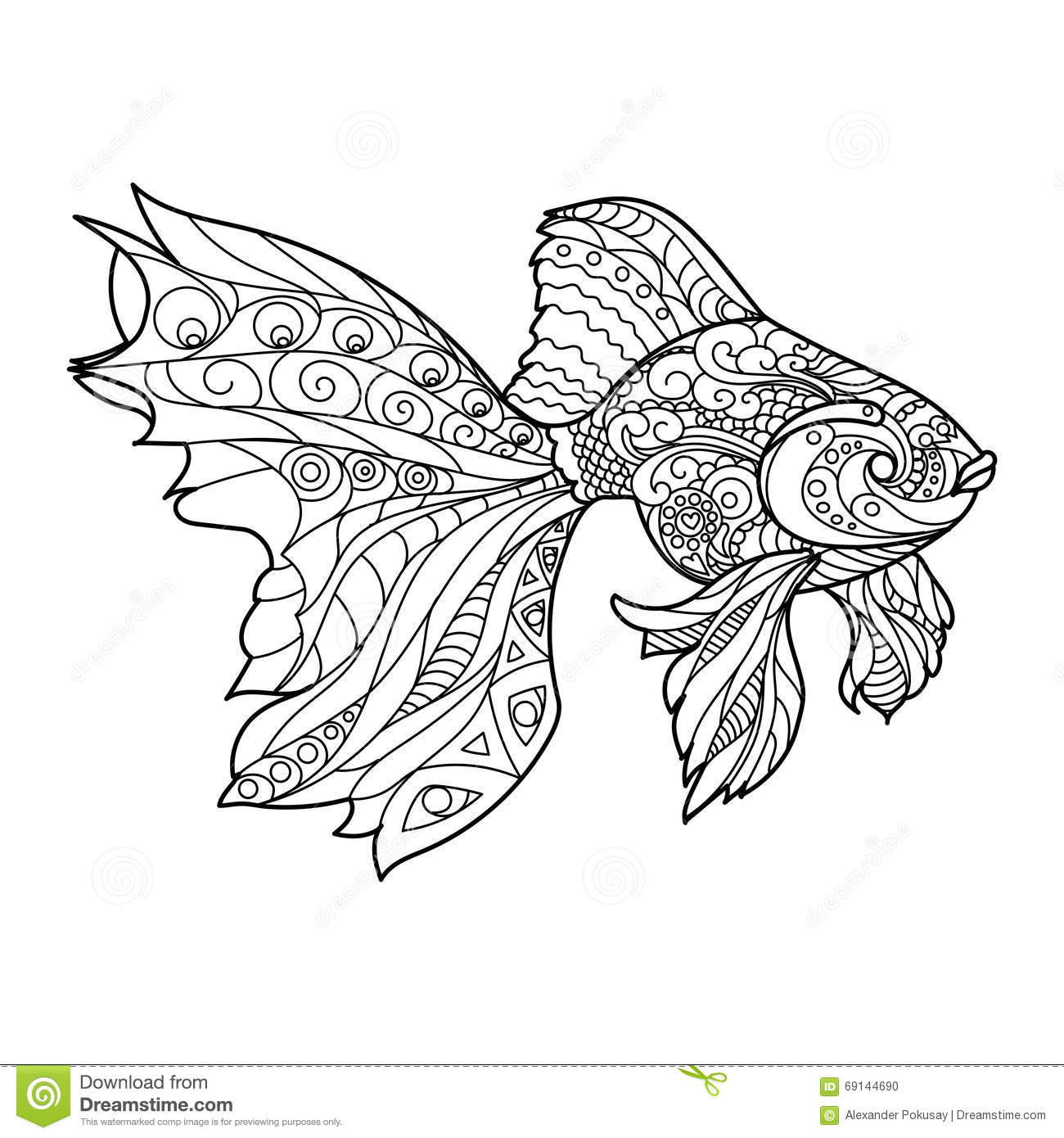 royalty free vector download gold fish coloring book for adults - Fish Coloring Pages For Adults