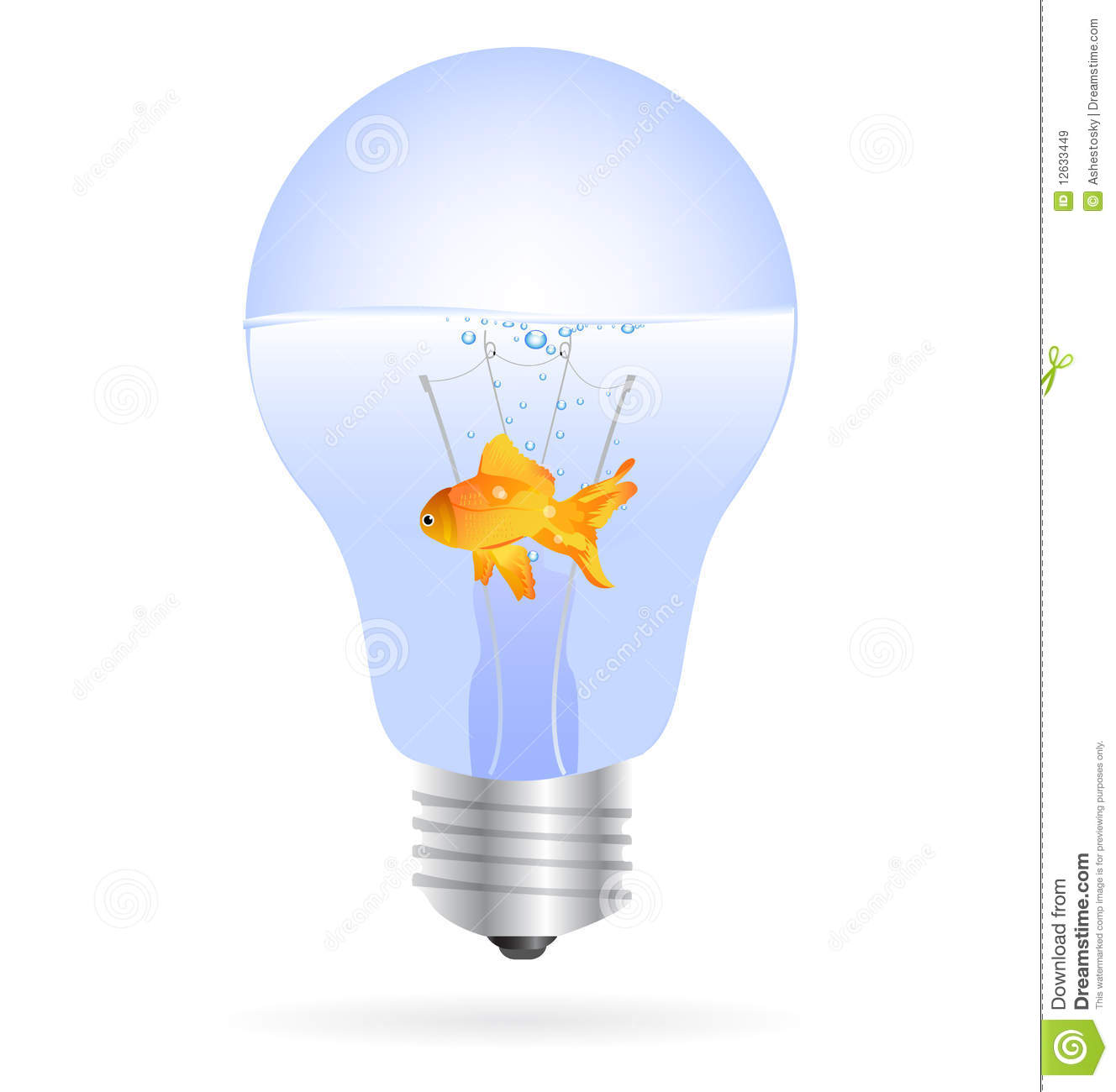 gold fish in a light bulb vector royalty free stock images