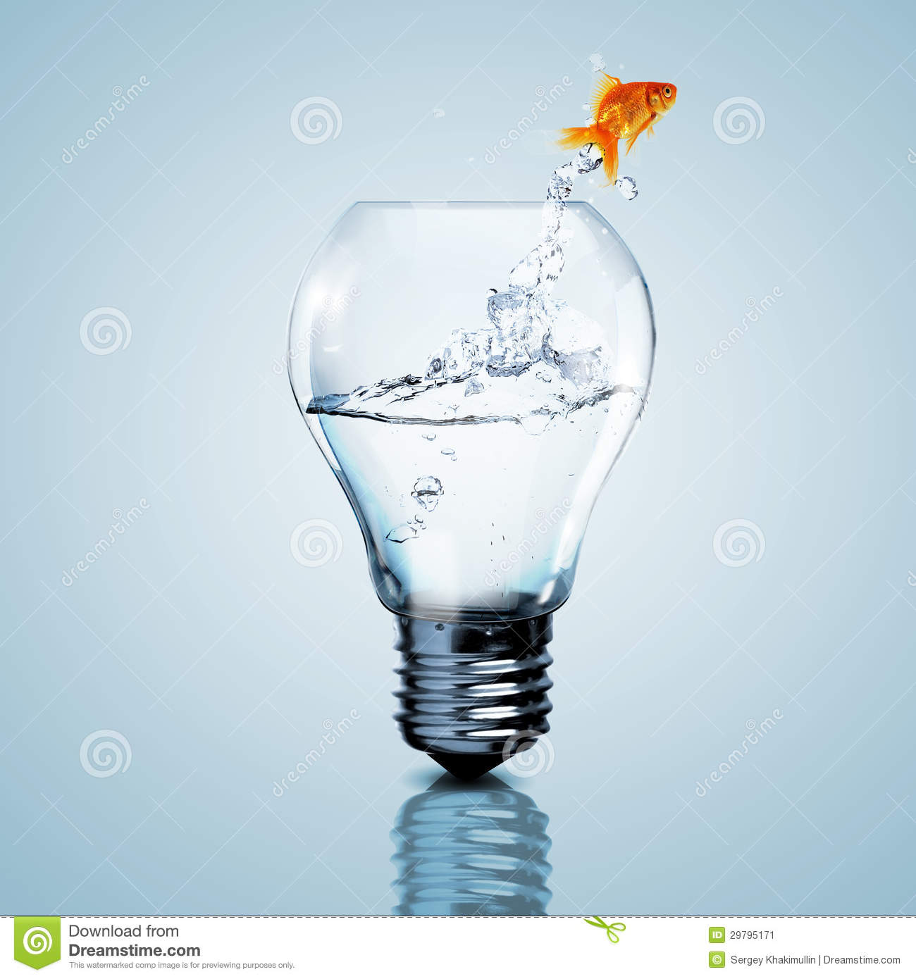gold fish inside an electric bulb stock image image of bulb