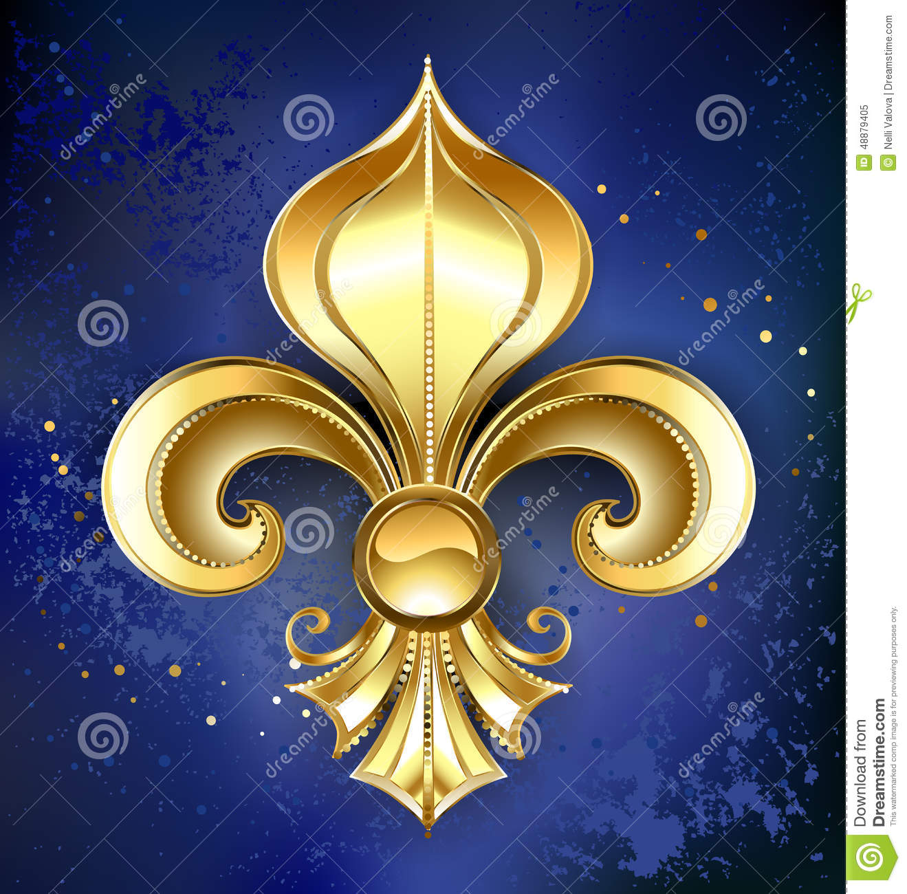 Gold Fleur-de-lis On A Blue Background Stock Photo - Image: 48879405