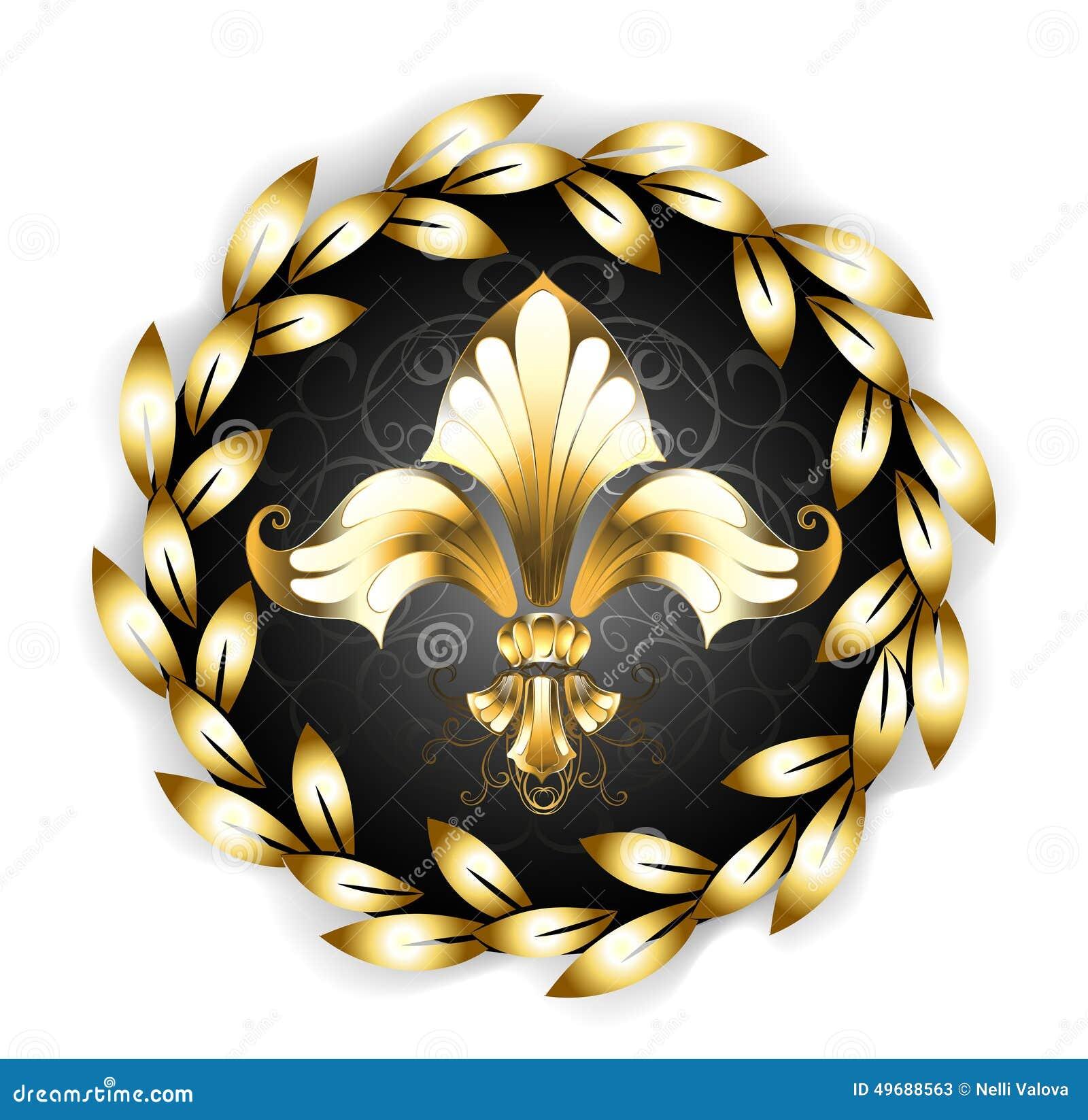 gold fleur de lis with a laurel wreath stock vector Gold Fleur De Lis Clip Art Fleur De Lis Line Art