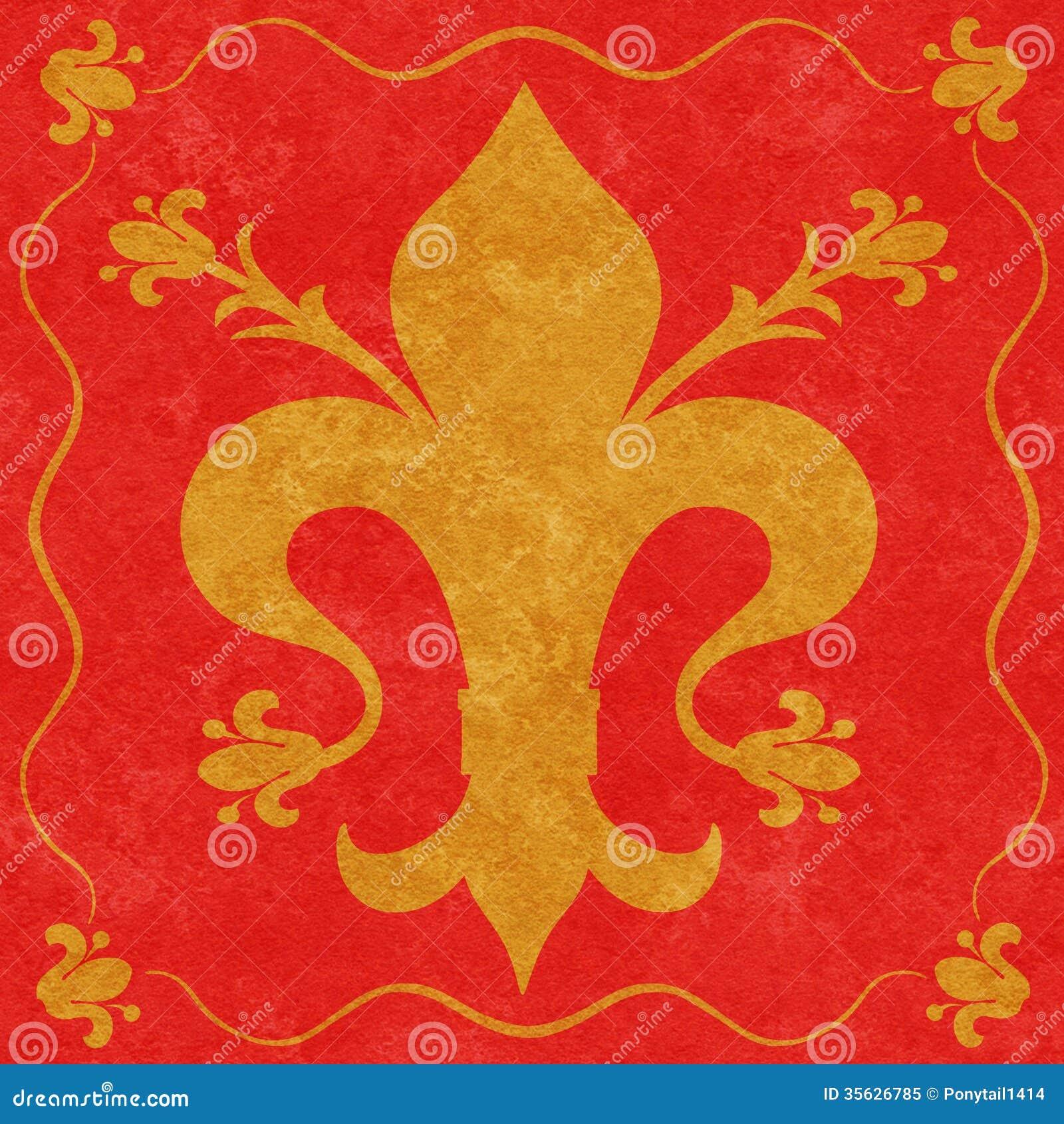 Gold Fleur De Lys On A Red Background Stock Illustration