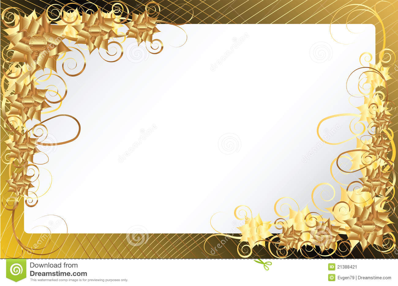 Gold Floral Frame Background Stock Vector Illustration