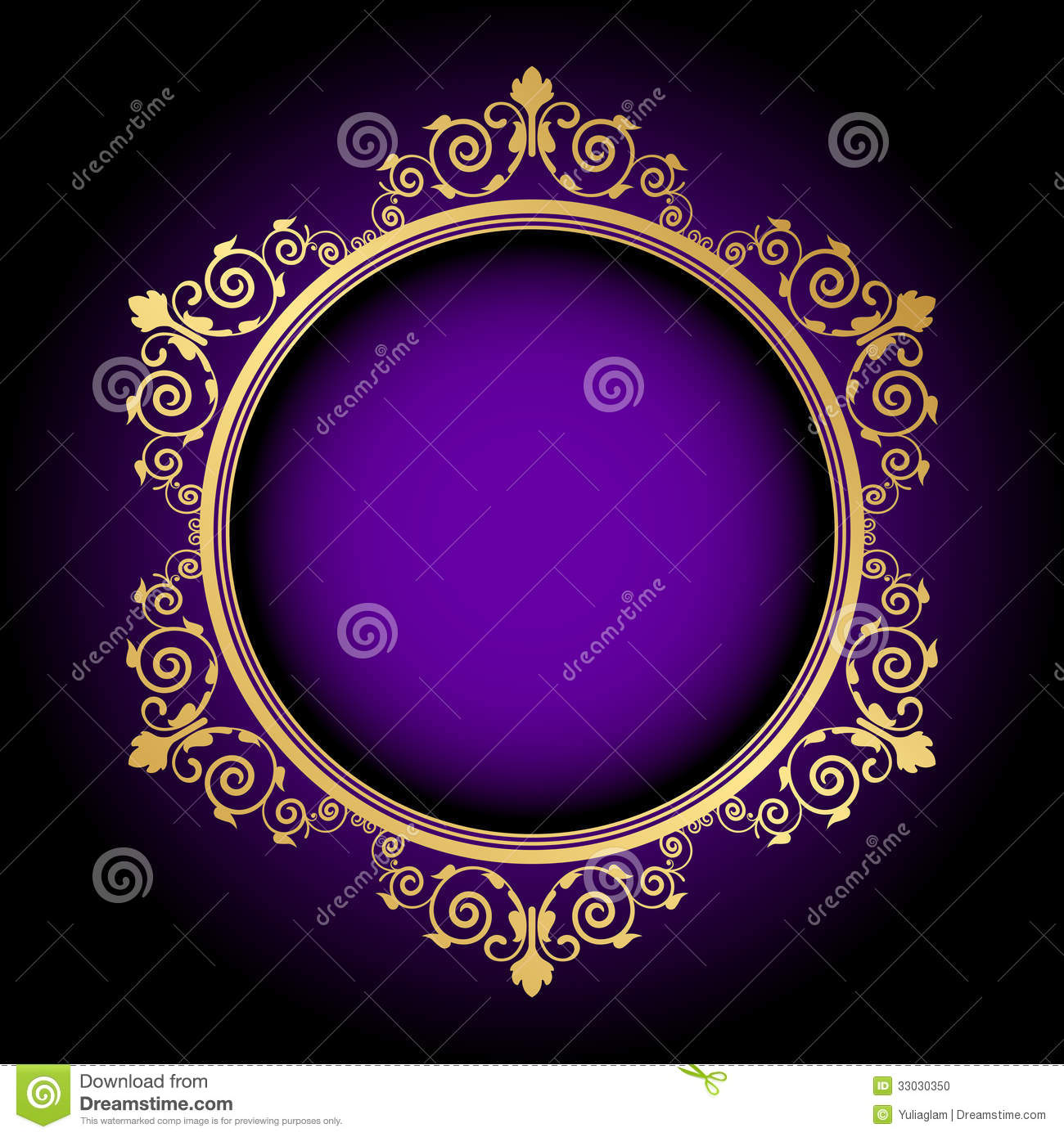 Gold Floral Frame On Purple Background Stock Vector