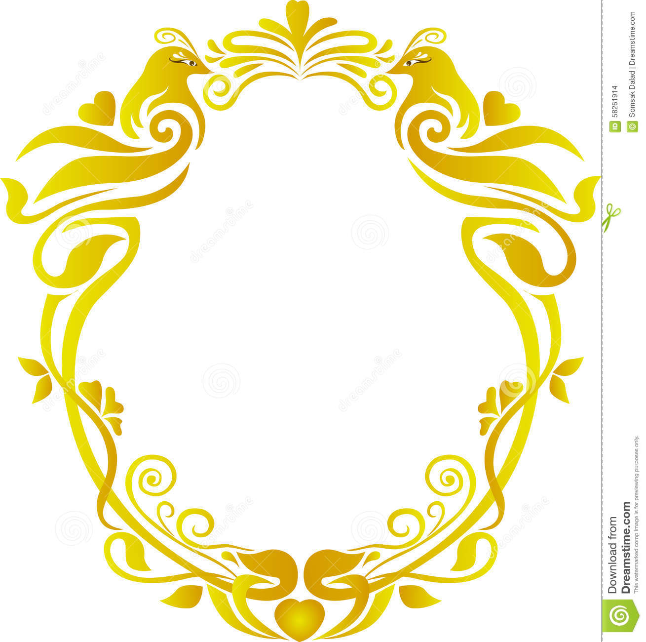 Gold Floral Frame Wedding Stock Vector Image 58261914