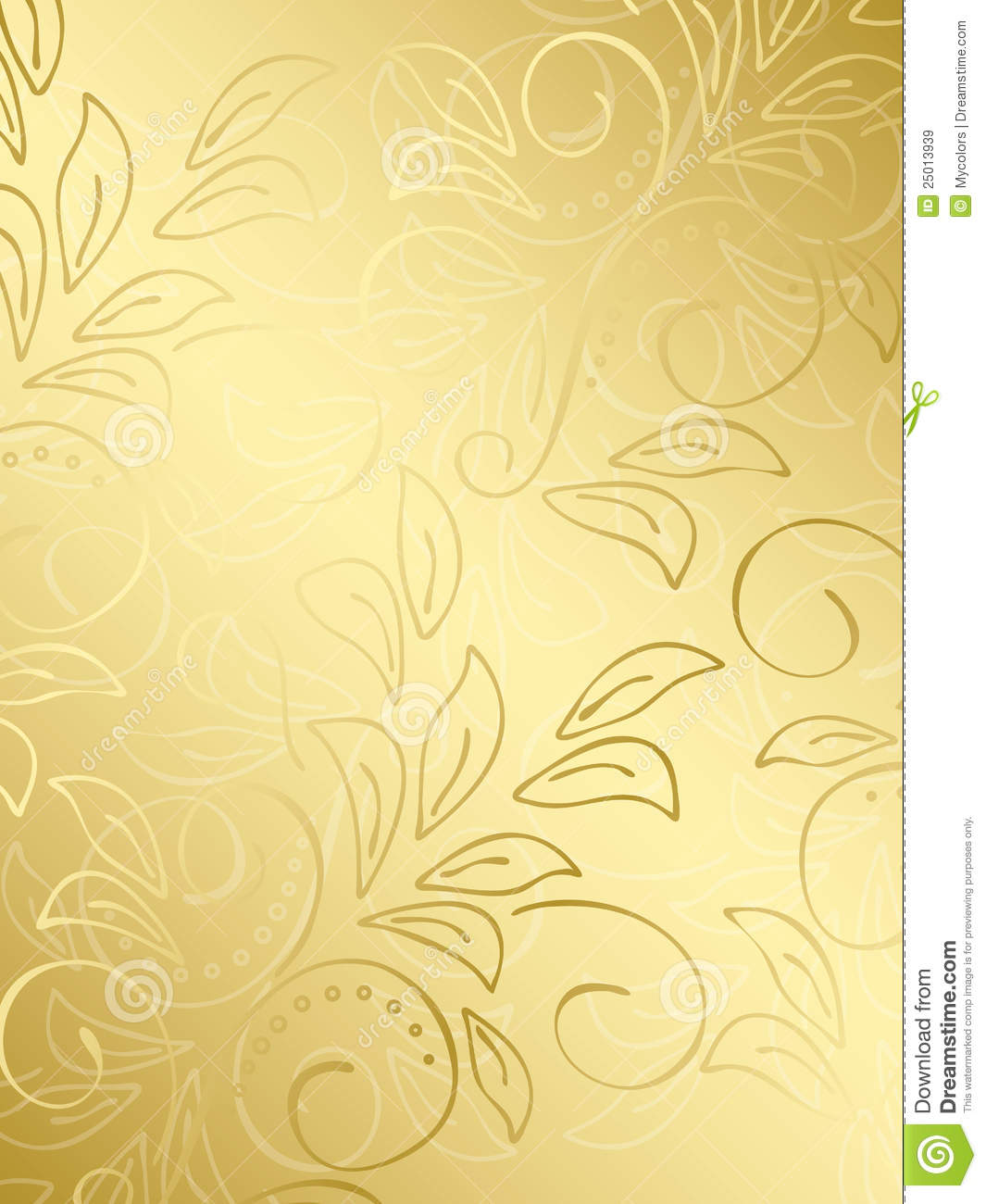 Gold Floral Vector Background With Gradient Stock Vector