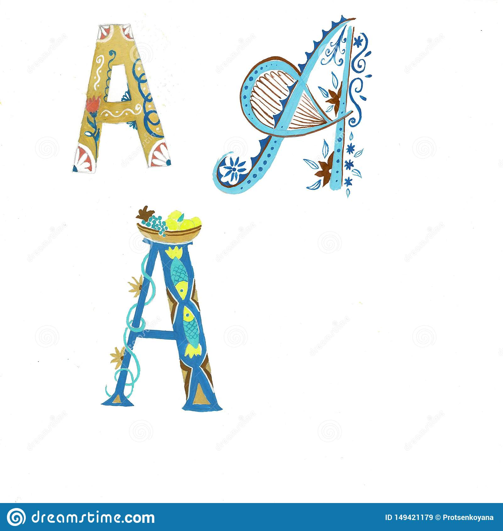 Gold floral watercolor alphabet art. Combination of gold A letter and flower wreath to create delicate designs for
