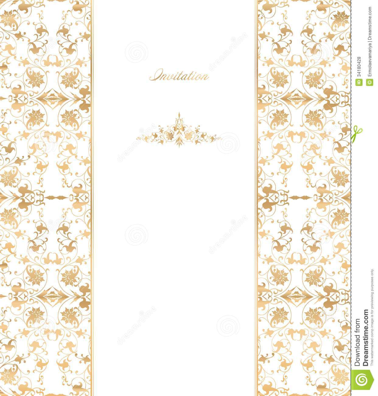 Gold Floral On White Background. Vector Royalty Free Stock ...