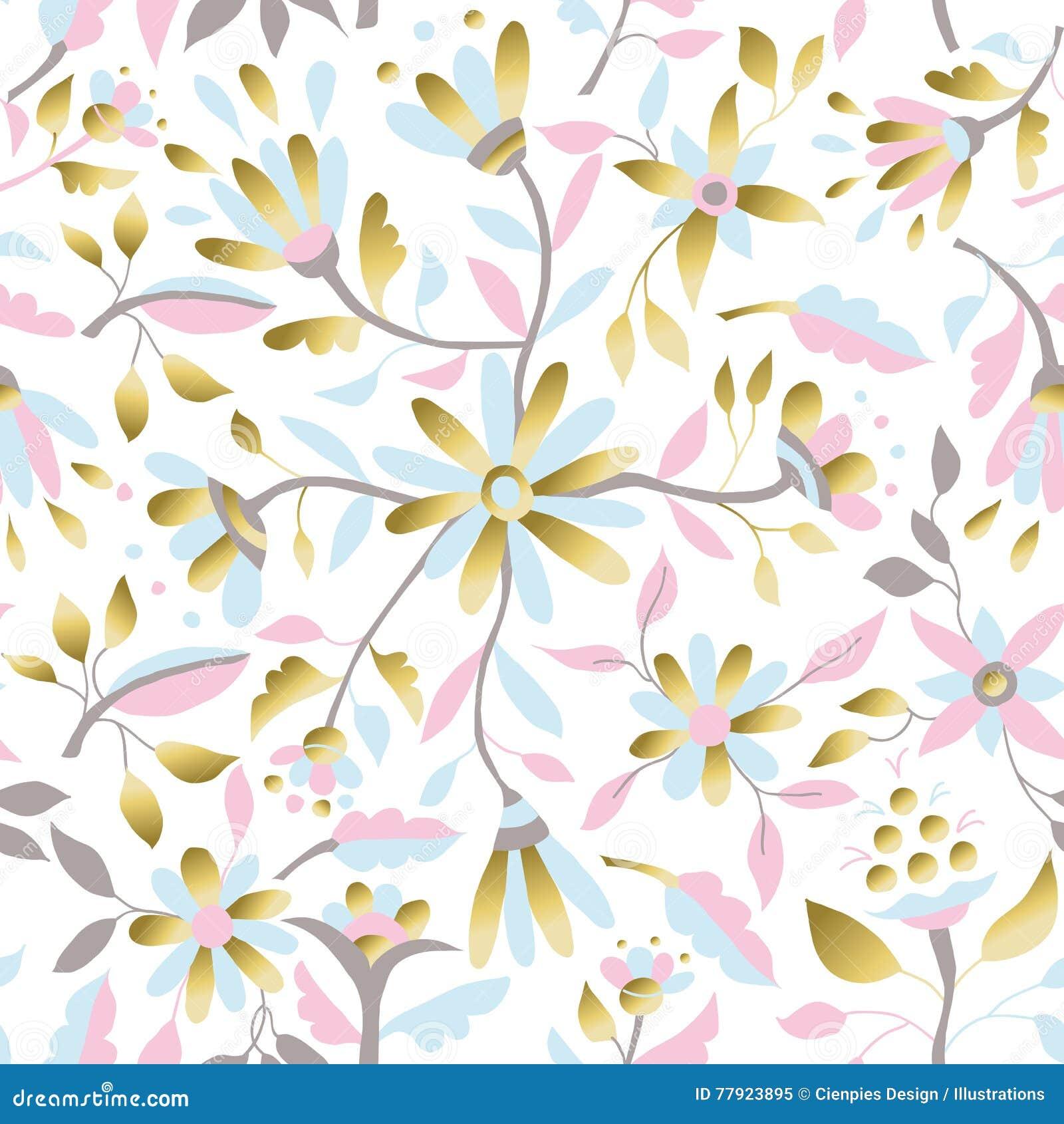 Gold flower decoration seamless pattern design stock vector gold flower decoration seamless pattern design izmirmasajfo